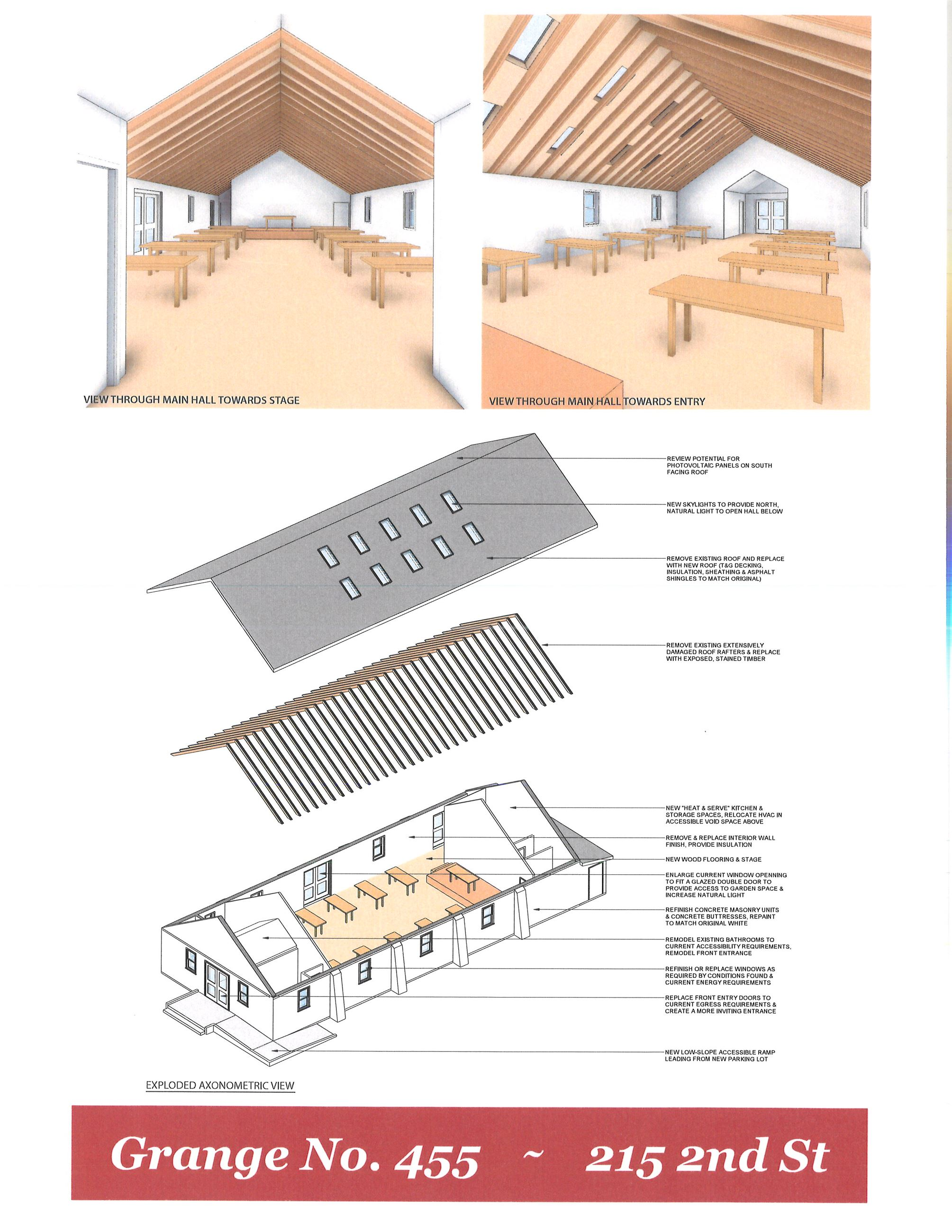 ARCHITECTURAL CONCEPTUAL RENDERINGS OF THE KERSEY COMMUNITY CENTER AT THE GRANGE